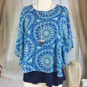 Faith and Joy Blue Boho Butterfly Sleeved Blouse